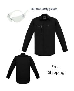 Mens Streetworx L/S Stretch Work/casual Shirt - Black - PLUS free safety glasses
