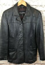 Wilsons leather jacket coat womens large black 100% leather five button pebbled