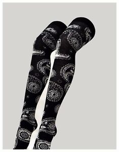 Ladies Womens Paisley Black Patterned Over Knee sock socks happy feet Black