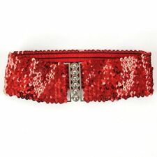 Elegant Women Elastic Sequin Belly Belt Stretch Waistband Buckle Corset Wide