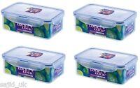 4x Lock and & Lock Food Storage Container Rectangular 1L - 207x134x70mm - HPL817