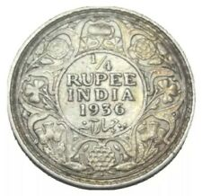 1936 B BRITISH INDIA 1/4 RUPEE SILVER WORLD COIN KM# 518 KING GEORGE V