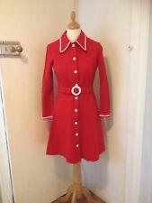 SUPERB ORIGINAL MOD  1960s VINTAGE MINI DRESS XMAS RED WOOL SIZE 10 BUST 34 ins.