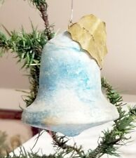 Larger Blue Bell, with Holly Leaf. Early 1880's Spun Cotton German Ornament.