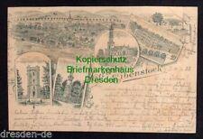 119589 AK Eibenstock 1899 Federlitho Kirche Bürgerschulen Auersberger Aussichtst