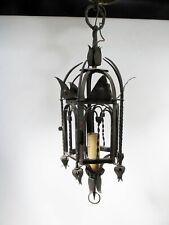 1920s Arts & Crafts Gothic Wrought Iron Pendant Lamp Tudor Mission Revival