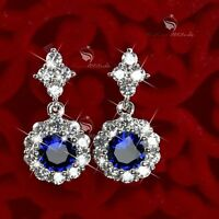 18k white gold gf made with SWAROVSKI crystal stud dangle earrings round flower