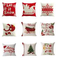 Merry Christmas Pillow Case Sofa Throw Cushion Cover Cotton Linen Home Decor CHZ