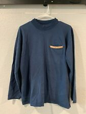 New listing Vintage Silver Screen Mens small navy blue long sleeve shirt with leather pocket
