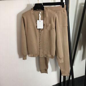 Women Clothing Knitting Jacket+Pants Winter 2020 2/pcs Suits Coats Sets Luxury
