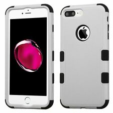 Asmyna TUFF Hybrid Protector Cover for iPhone 7 Plus - Natural Gray/Black