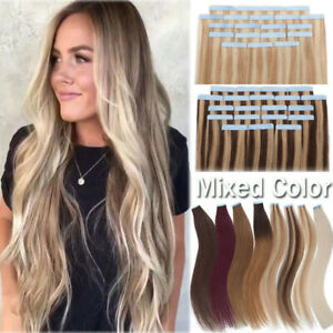 Russian Seamless Tape In 150G Human Remy Hair Extensions Full Head Skin Weft AU