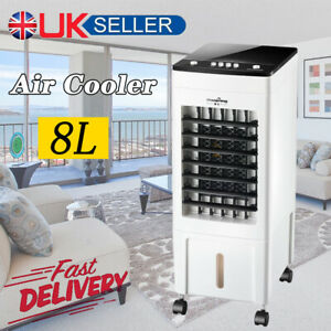 8L Portable Air Cooler Humidifier Cool Fan Swing 3 Speed Ice Silent Evaporative