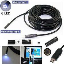 TELECAMERA ENDOSCOPICA 5 E 10 MT LED CAVO SONDA FLESSIBILE USB ISPEZIONE TUBI