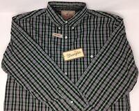 NWT Wrangler Western L/S Shirt Easy Care Mens Sz Medium Plaid