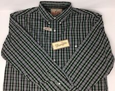 NWT Wrangler Western L/S Shirt Easy Care Mens Sz Medium Plaid