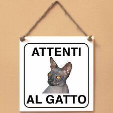 Don Sphynx 5 Attenti al gatto Targa gatto cartello ceramic tiles