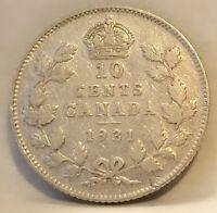 1931 CANADA SILVER TEN CENTS Coin