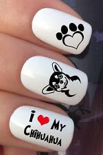 NAIL ART SET #693 x20 I LOVE MY CHIHUAHUA DOG WATER TRANSFERS DECALS STICKERS