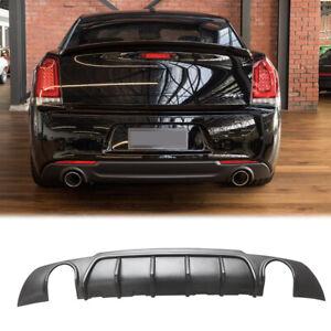 Matte Black For 15-20 Chrysler 300 SRT Shark Fin Style Rear Bumper Lip Diffuser