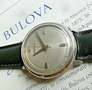 Clean Early Vintage 1963 S/S Men's Bulova Accutron 214 Tuning Fork Watch Runs