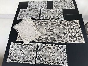 Antique Vtg Set 12 Hand Embroidery Point Venice Needle Lace Placemats & Runner
