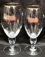 Stella Artois Belguim Gold Rimmed Beer Drinking Glasses 50cl  / 40cl