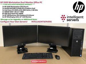 HP Z420 Workstation Intel E5-2650 V2 2.6GHz 32GB 500GB 7.2K SATA Nvidia NVS 300