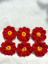 handmade crocheted little flowers acrylic  red 4 cm  pack off 6