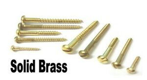 Solid brass wood screws. No4. Round head. Slotted. Raised head. 12mm -> 18mm.