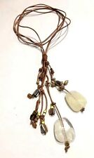 Fashion Leather String Natural Shell Plastic Pendant Necklace - Design By Susie