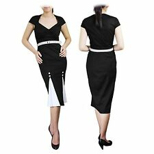 107 New Black 50's Style Pinup Black Pencil Wiggle Dress Size 10 BN