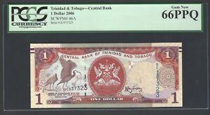 Trinidad & Tobago One Dollar 2006 P46A Uncirculated Graded 66