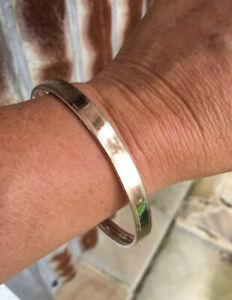 Antique, 9ct Rose Gold, Silver Lined Bangle Bracelet. Large Size. 18 Grams.