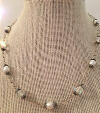 Genuine Pearl And Swarovski Ab Crystal Necklace On Sterling Silver Chain