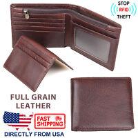Men's RFID Blocking ID Window Full Grain Leather Compact Wallet, 2 Piece Set
