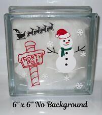 "North Pole Santa Sleigh Snowman Christmas Decal Sticker for DIY 8"" Glass Block"
