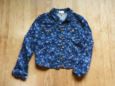 Love Fire Girls Blue Floral Denim Jacket Button Front Long Sleeve L Pre-owned