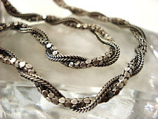 Vintage Fine Jewelry  Sterling Silver Greek  Artisan  Necklace 20""