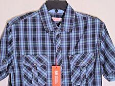 NWT Mens Michael Brandon Casual Button Down Short Sleeve Shirt Small Blue