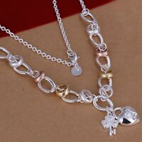 925 Sterling Silver Necklace Rose and Gold Tone Heart 18 Inches 9.9MM Lobster B1