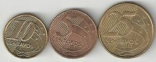 3 DIFFERENT COINS from BRAZIL - 5, 10 & 25 CENTAVOS (ALL DATING 2011)