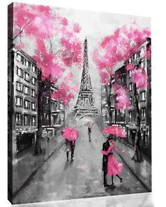 Pink Black & White Paris Oil Painting Canvas Wall Art Picture Print