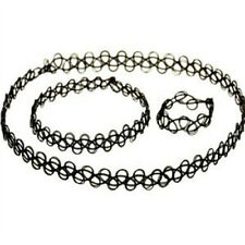3 PCS Stretch Tattoo Choker Necklace Bracelet Ring Set Black Elastic Boho Retro