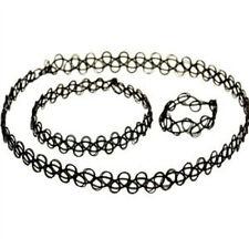 3 PCS Stretch Tattoo Choker Necklace Bracelet Ring Set Black Elastic Boho Retro