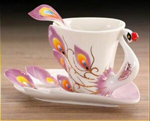 Creative Ceramic Drinkware Enamel Coffee Mug Porcelain Tea Cups Saucer Spoon Set