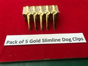 1,Pack of 5 Slimline Pen Dogs Head Clip in Gold
