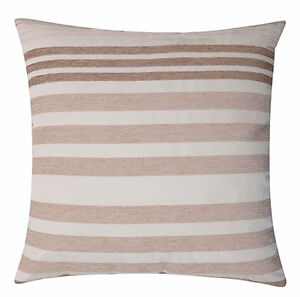 """PACK OF 4 CHENILLE STRIPE NATURAL CUSHION COVERS CREAM BEIGE LATTE ZIPPED 17"""""""