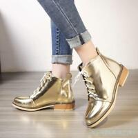 Lady's Girl Lace Up Shiny Ankle Boots Chelsea Round Toe Chunky Heel Shoes 2018