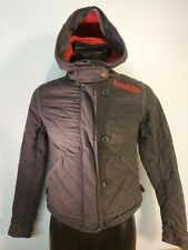 F620 RARE WOMENS SUPERDRY NAVY BLUE QUILTED HOODED JACKET M 10 EU 38